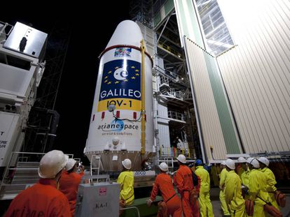 Preparativos para el lanzamiento de un módulo del sistema Galileo desde la base de Kourou, en la Guyana francesa.