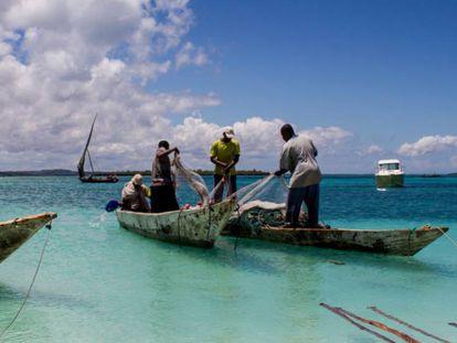 Pescadores en la costa de Zanzíbar.
