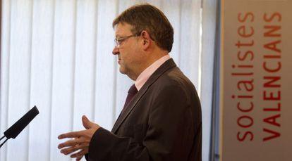 Ximo Puig, durante la rueda de prensa celebrada en la sede del PSPV.
