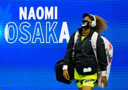 Osaka, esta semana antes de salir a la pista de Nueva York para disputar un partido.