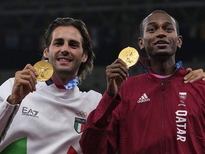 El italiano Gianmarco Tamberi y el catarí Mutaz Barshim compartieron el oro en salto de altura.