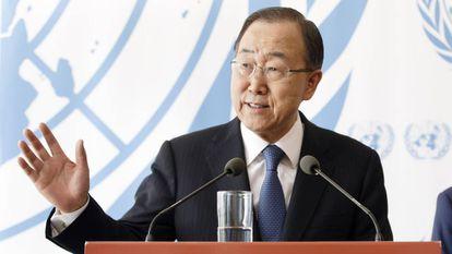 El secretario general de la ONU, Ban Ki-moon, este viernes en Ginebra.