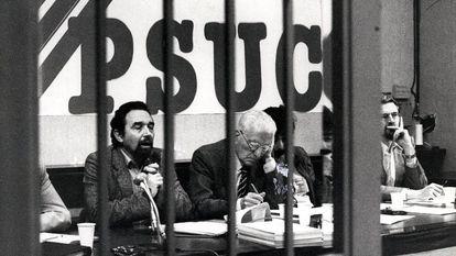 Gutiérrez Díaz y López Raimundo, en una reunión del comité central del PSUC