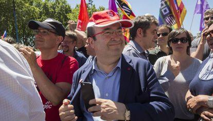 El líder del PSC, Miquel Iceta, en la manifestación de hoy.