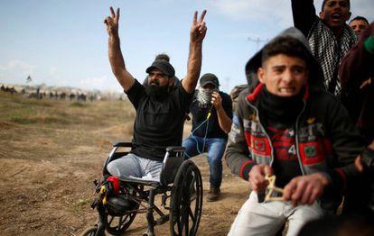 Thuraya, durante una protesta al este de Ciudad de Gaza contra la capitalidad de Jerusalén declarada por EE UU.