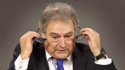 El presidente de la Diputación de Valencia, Alfonso Rus, este miércoles en una comparecencia.