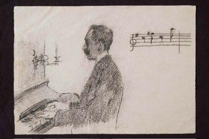 Grabado de Santiago Rusiñol que representa a Falla componiendo 'las Noches'.