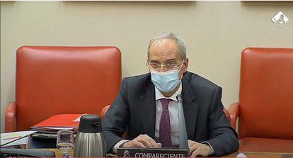 El director general de la AEAT, Jesús Gascón, este jueves en el Congreso.