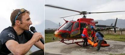 El alpinista suizo Ueli Steck, a la izquierda en 2013; a la derecha, rescate de su cadáver en abril de 2017.