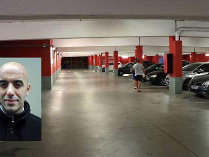El ladrón Rédoine Faïd, en enero de 2011. Al fondo, el aparcamiento donde se encontró el coche de Faïd el 25 de julio de 2018.