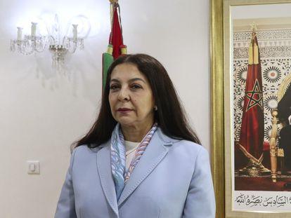 La embajadora marroquí en España, Karima Benyaich, en la sede del ministerio de Exteriores en la capital marroquí el pasado mes de mayo.