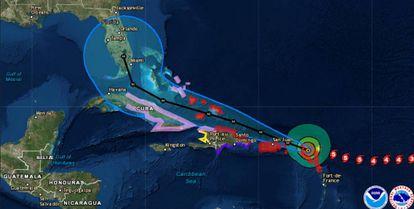 Trayectoria del huracán Irma.