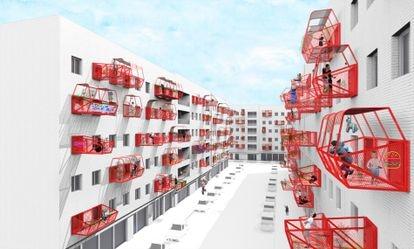 Prototipo de terraza prefabricada de Luis Quintano.
