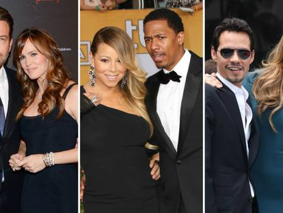 Ben Affleck y Jennifer Garner, Mariah Carey y Nick Cannon, y Marc Anthony y Jennifer Lopez.
