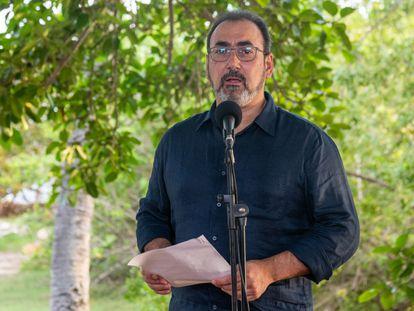 El exministro de Comercio colombiano Sergio Díaz-Granados durante su declaración en Cartagena tras ser elegido presidente de CAF, el pasado lunes.