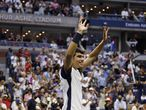 New York (United States), 03/09/2021.- Carlos Alcaraz of Spain reacts after upsetting Stefanos Tsitsipas of Greece during their match on the fifth day of the US Open Tennis Championships the USTA National Tennis Center in Flushing Meadows, New York, USA, 03 September 2021. The US Open runs from 30 August through 12 September. (Tenis, Abierto, Grecia, España, Estados Unidos, Nueva York) EFE/EPA/JUSTIN LANE
