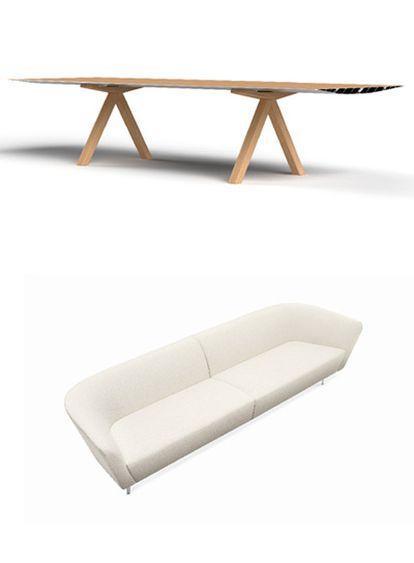 Arriba, Table B de la empresa B.D. Abajo, sofá modular Loop del estudio Lievore, Altherr, Molina.