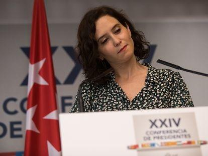 La presidenta de Madrid, Isabel Díaz Ayuso, al termino de la XXIV Conferencia de Presidentes Autonómicos.