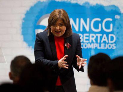 La presidenta del PP de la Comunidad Valenciana, Isabel Bonig, el 8 de febrero en un acto de partido en Benicàssim (Castellón).