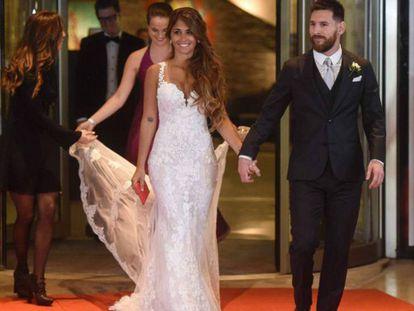 Messi y Rocuzzo posan para los fotógrafos.