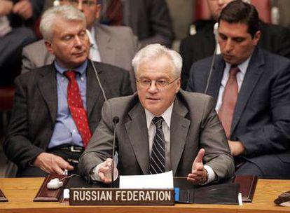 El embajador de Rusia ante Naciones Unidas, Vitaly Churkyn, se dirige al Consejo de Seguridad en la reunión de esta madrugada (hora española)