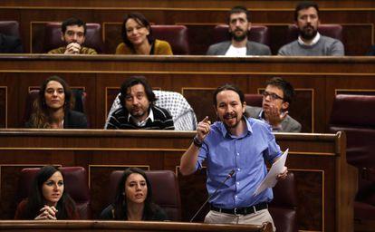 Pablo Iglesias, durante una comparecencia en el Congreso en noviembre de 2017.