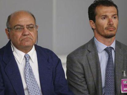 El expresidente de la CEOE, Gerardo Díaz Ferrán, junto al último junto al último director de Viajes Marsans, Iván Losada, durante el juicio hoy en la Audiencia Nacional