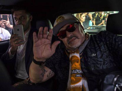 Maradona a su llegada a Sinaloa.
