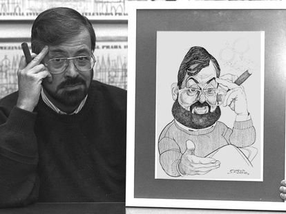 Ibáñez Serrador, con un puro en una mano y en la otra, una caricatura suya, en 1994.
