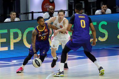 Causeur defiende a Higgins este domingo durante la final de la Copa del Rey de Baloncesto, disputada en el WiZink Center.