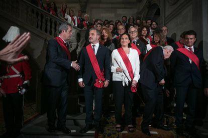 Foto oficial con Forn, Collboni, Colau, Maragall y Valls.