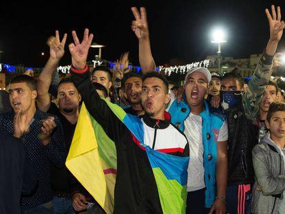Protesta por la muerte de Fikri en la ciudad de Alhucemas, en noviembre de 2016