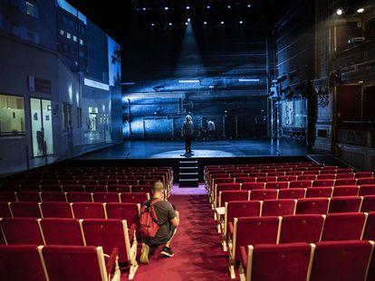 Grabación de la obra 'La conmoción', en el teatro María Guerrero de Madrid.