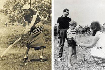 A la izquierda, Elvira Larrazabal dando un golpe. A la derecha, con su marido, el árbitro José María Ortiz de Mendibil, y su hijo Iñigo.