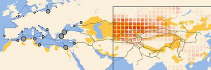 El mapa muestra el viaje de la peste desde su origen natural (en rojo) hasta Europa. En gris, las ciudades con brotes originales.