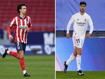 João Félix y Asensio, en dos partidos recientes del Atlético y el Madrid. / D. DOYLE / D. SOUTO (GETTY)