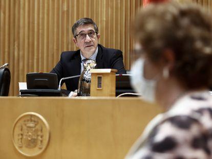 El presidente de la Comisión, Patxi López, durante la primera sesión de la Comisión del Congreso para la Reconstrucción Social y Económica. 13 MAYO 2020 POLÍTICA;COVID-19;CORONAVIRUS;CRISIS;PANDEMIA;ENFERMEDAD;CONGRESO Pool 13/05/2020