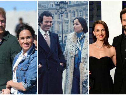 Los duques de Sussex, Julio Iglesias e Isabel Preylser y Natalie Portman y Benjamin Millepied.