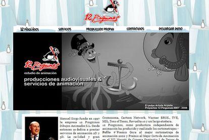 Aspecto de la web de la productora 12 Pingüinos