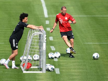 Sané y Broich, durante un entrenamiento del Bayern de la semana pasada.