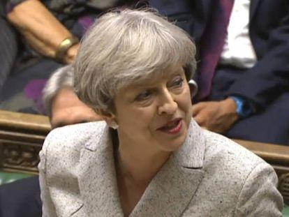 La primera ministra británica, Theresa May, en el parlamento inglés.