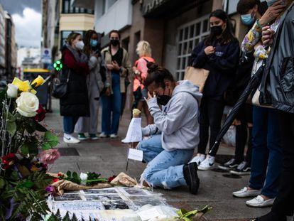 Concentración en A Coruña en repulsa por el asesinato de Samuel Luiz, la noche del pasado sábado.