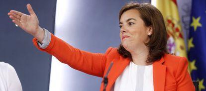 La vicepresidenta del Gobierno, Soraya Sáenz de Santamaria, tras el Consejo de Ministros del pasado viernes.