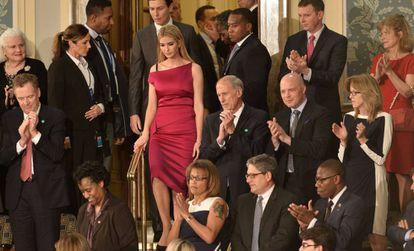 Ivanka Trump llega al Congreso con su marido, Jared Kushner.