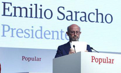 Emilio Saracho, presidente del Banco Popular a principios de 2017, durante una Junta de Accionistas de la entidad.
