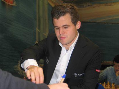Magnus Carlsen, en enero de 2019 durante el Festival Tata de Wijk aan Zee (Países Bajos)