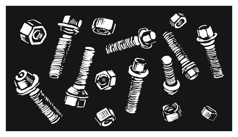 Ilustración de tornillos y tuercas.