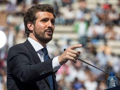 Pablo Casado en el acto de clausura de la convención del PP, en Valencia, este domingo.