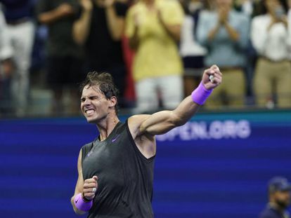 Rafa Nadal tras vencer a Medvedev.