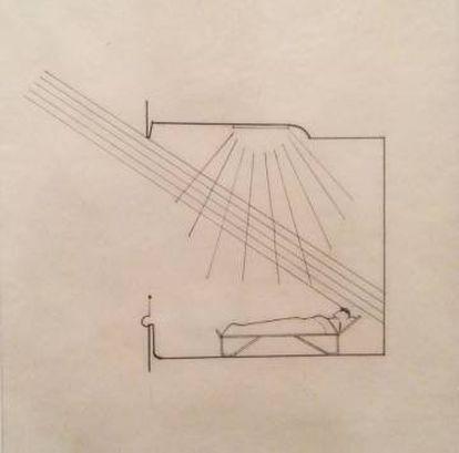 Arriba, el sanatorio de Paimio de Alvar Aalto. Abajo, un gráfico del arquitecto que mostraba la importancia de que que el sol entrara en la habitación de los pacientes. |